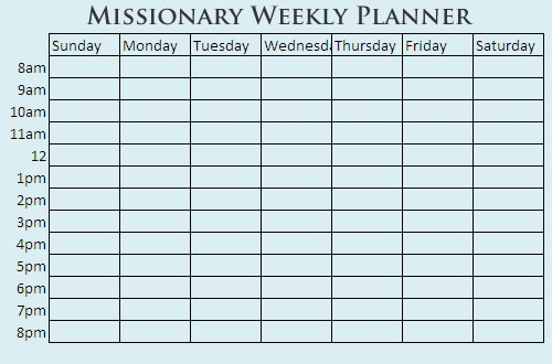 weekly planner with time block grid