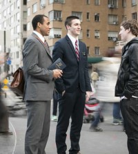 missionaries teaching in the street