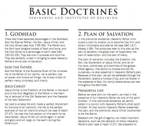 Basic Doctrines from LDS Seminary and Institutes of Religion