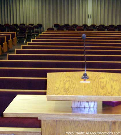 pulpit in mormon chapel