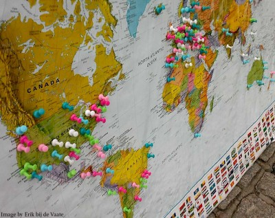 pins on world map