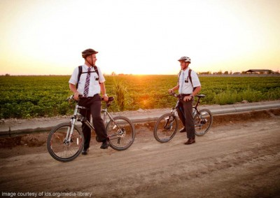 mormon missionaries riding bikes