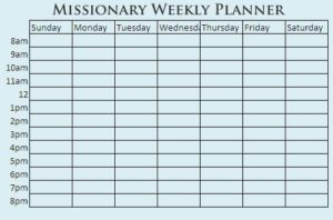 missionary weekly planner