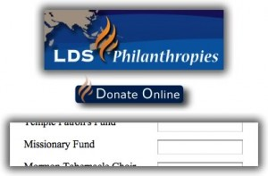 Giving to the LDS Church Missionary Fund
