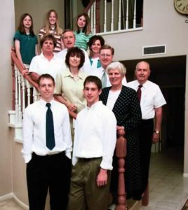 missionary family on stairs