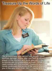 sister missionary treasure up the words of life