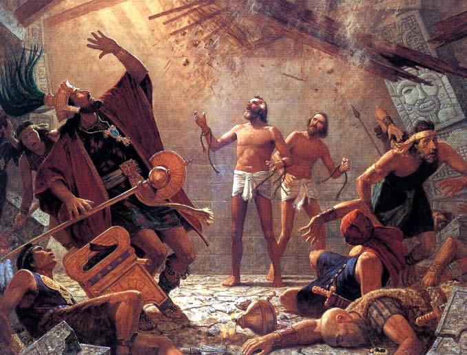 Nach vielen Tagen im Gefängnis schreit Alma zum Herrn im Beisein der Priester Ammonihas. Das Gefängnis stürzt ein und ihre Folterer kommen in den Trümmern um (Alma 14).