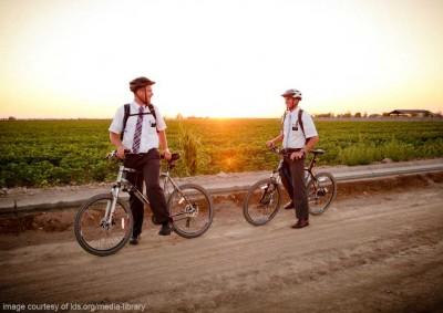 mormon missionaries riding bikes